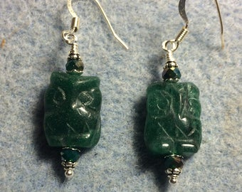 Dark green aventurine gemstone owl bead earrings adorned with dark green Chinese crystal beads.