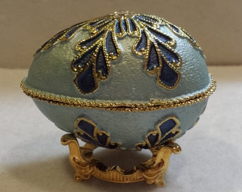 Jeweled Enameled  Egg Trinket Box