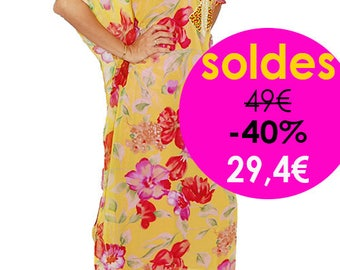 Flowery chiffon Gandoura caftan. BALANCE with Up To 50% Off: 1 only model remaining