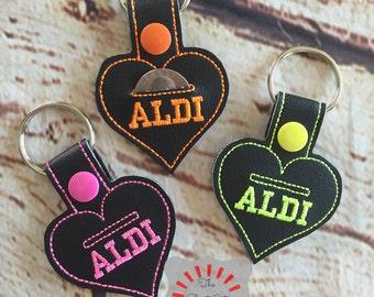 Aldi Keychain, Aldi Heart keychain, Aldi Keyfob, Aldi Snap Tab, Aldi Quarter Holder, Aldi Quarter Keychain, I love Aldi, Heart Aldi Keychain