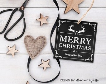 Merry Christmas Gift Tag , Christmas Tags , Christmas Printable Tags , Black White Christmas Gift Tags , Chalkboard , Instant Download