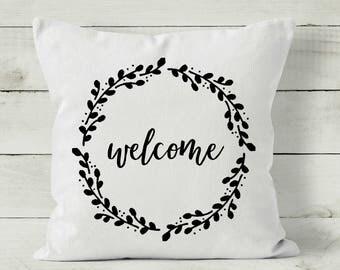 Farmhouse Style Pillow Cover - Welcome Pillow Cover - Calligraphy Pillow - Quote Pillow - Neutral Pillow
