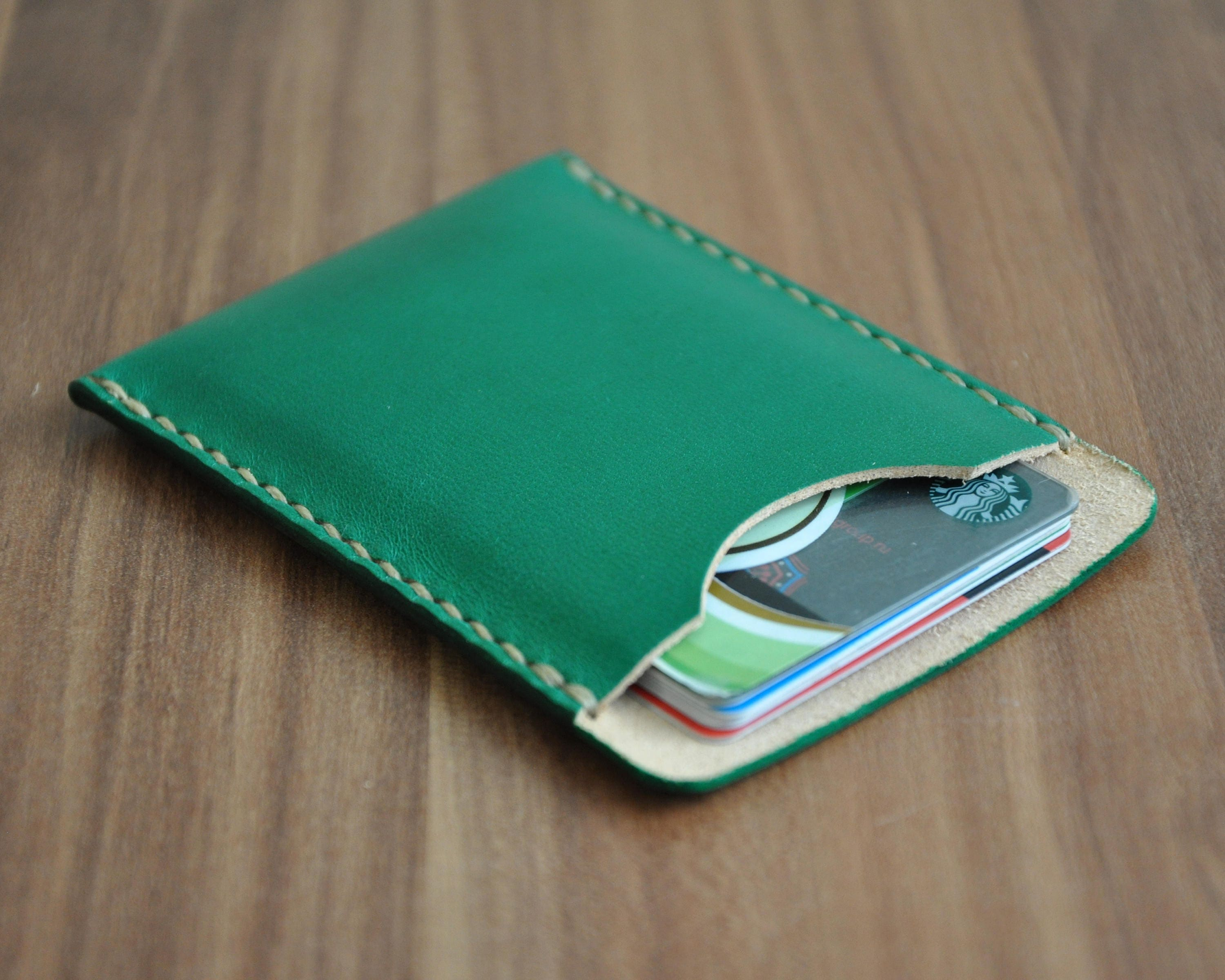 leather business card holder horizontal card wallet personalized