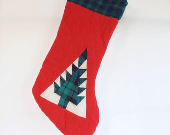 Vintage  Christmas Stocking - Quilted Flannel Stocking with Christmas Tree
