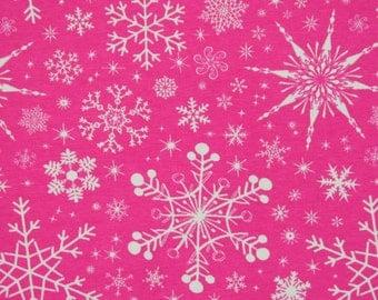 Knit Pink Snowflakes Fabric  1/2 yard