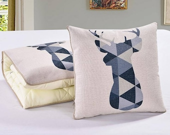 2 in 1 Travel Pillow Quilts Decorative Throw Pillow Sofa Cushions Couch Cushions