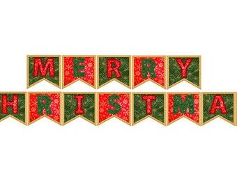 Christmas Bunting Applique Design, Xmas Banner Embroidery Design no: SA516
