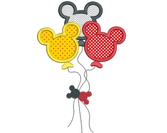 Mouse Ears Balloons Applique Machine Embroidery Design, Instant Download, Birthday Balloons, Party Balloons Embroidery Design no: SA535-12