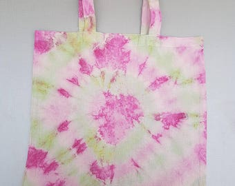 Hand painted tie dye cotton tote bag.
