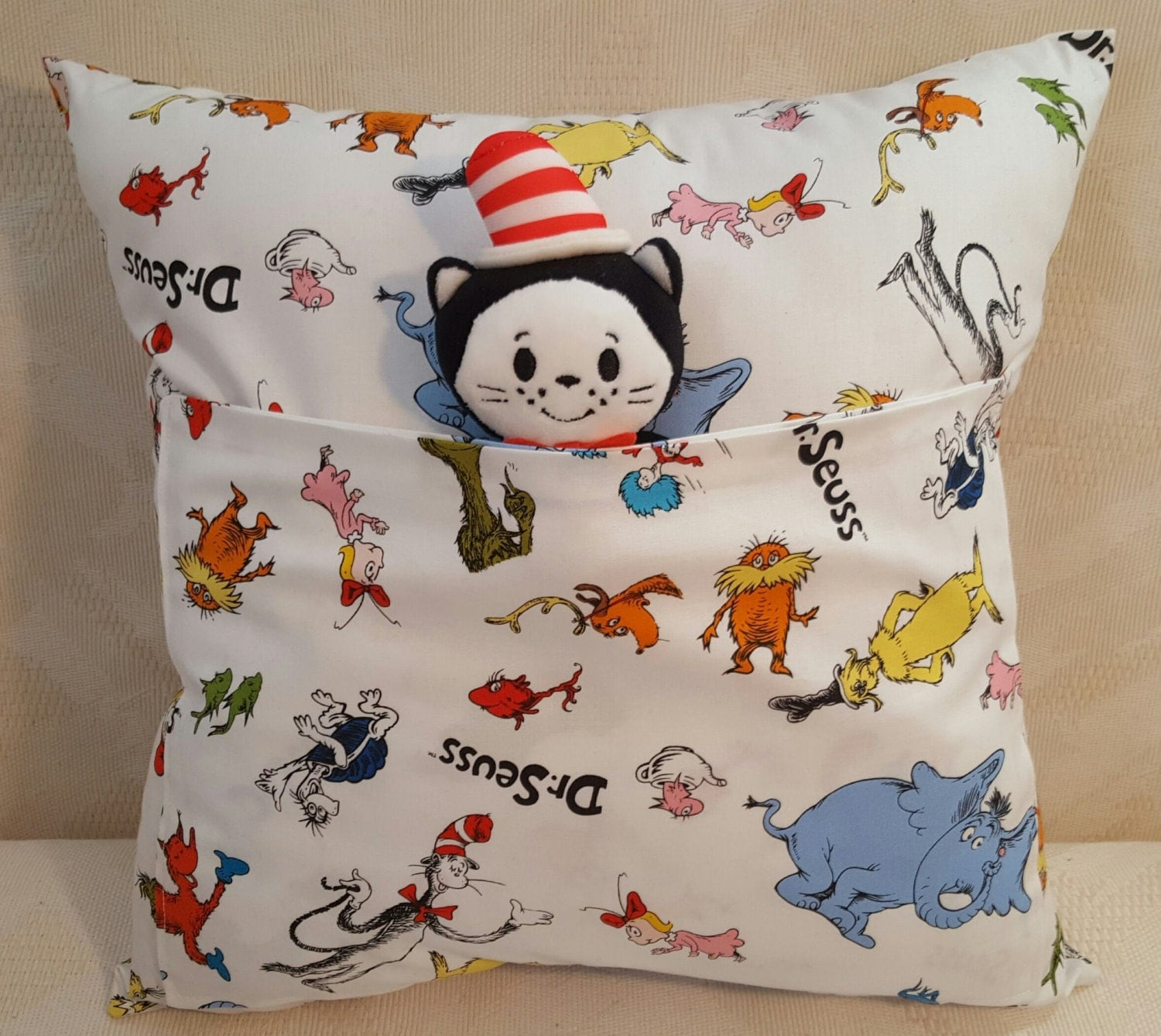 Stuffed Animal Pillows With Pockets : Dr. Seuss Companion Pocket Pillow with Cat in the Hat Plushie