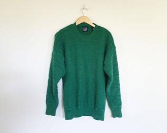 Gap Cotton Kelly Green Textured Knit Sweater