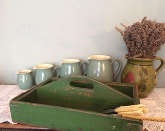 Lovely vintage green painted wooden Cutlery Tray