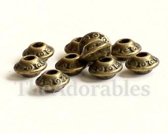 40pcs--Beads, Antique Bronze, about 6.5mm, hole: 1mm (B71-5)