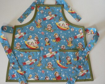 Boys Retro Rocket Apron with Pockets Birthday Gift for Kids Childrens Apron