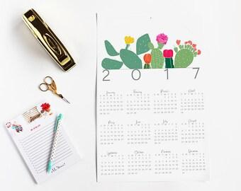 2017 Calendar | Year-at-a-glance | Wall Calendar | Cactus |