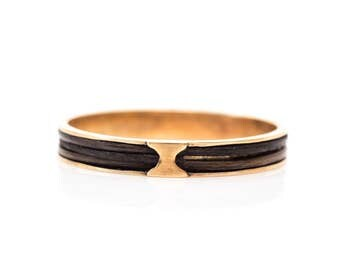 Circa 1880s Antique Victorian Era 14k Gold Mourning Ring Band (Unisex), ATL #161A