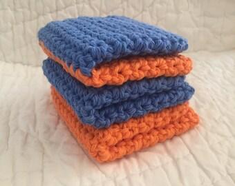 UIUC washcloths,Blue Orange colors,Crochet Dishcloths - Washcloths - Dish Cloth - Wash Cloths - Face Exfoliation - set of 3 wash cloths