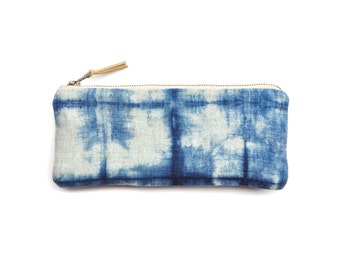 Linen Pencil Case in Indigo Shibori Grid Pattern with Metal Zipper and Gold-flecked Pull