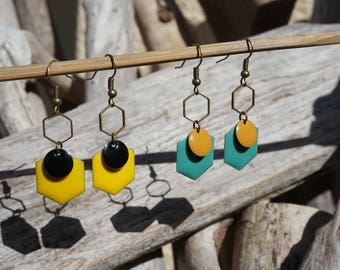 Earrings dangling, bronze curls and sequin, earrings, bronze earrings ears, long earrings, yellow and black balls, blue loops