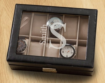 Personalized Men's Leather Watch Box - Personalized Watch Box - Husband Gifts - Father's Day Gifts - Gifts for Him - (GC1400)