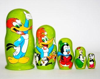 Nesting doll Woody Woodpecker for kids signed matryoshka russian dolls