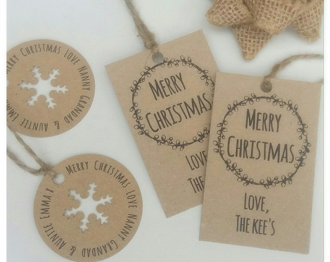 Personalised Gift tags set of 12 | Christmas tags | ANY WORDING | Rustic Kraft card | Favour tag's | Personalised Tags