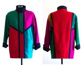 1980s color block wool coat