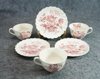 Royal Staffordshire Charlotte Pattern By Clarice Cliff Cup & Saucer X 3