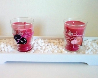 Set of 2 red French craft candles, romantic candle, love heart pink and black, colza wax, vintage candlesticks, handmade