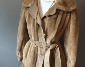XL Vintage Lilli Ann Suede leather and Faux Mink Fur caramel Brown Cinch Coat  size 16 ReFabulousReVamped  ReFabulous