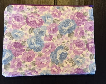 Blue and Purple Floral Zipper Pouch