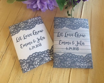 gray lace wedding seed packets, dark grey lace favors, gray lace wedding, gray lace favors,  lace and wood wedding seed packets