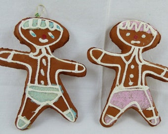RESERVED LISTING -- 2 JAPAN Paper Mache Papier Mache Gingerbread Boy & Girl Christmas Ornaments
