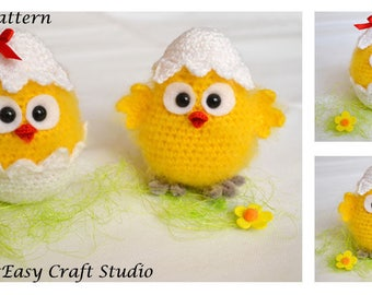 CROCHET PATTERN, Easter Chicken, Crochet Chicks, Eggshell, Easter Decoration, Table Decor, Digital Download, PDF file
