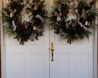Donation - Not for Sale - Made for Shiloh:  Church Door Christmas Wreaths