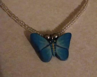 Blue Butterfly Beaded Necklace, Gifts Under 10.00, For Her,Accessories,Pendant Necklace, Butterfly Jewelry, Beaded Necklaces, Jewelry, Gifts