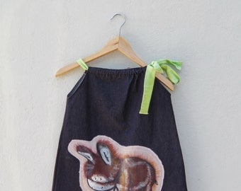 donkey dress,boho dress, one of a kind, art, painted clothes, for unique girls,  handmade, unique ,avant garde