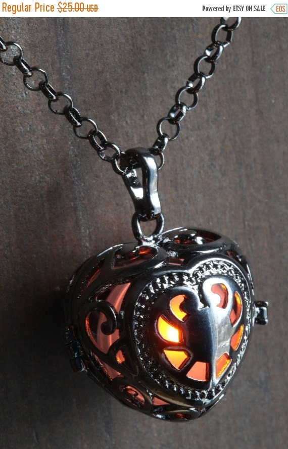 ON SALE TODAY - Orange Glowing Orb Pendant Necklace heart Locket Black, Romantic Gift for Her, Fairy glow Jewelry