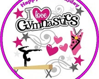 Gymnastics Personalised Pre Cut Icing/Rice Paper Cake Topper 7.5""