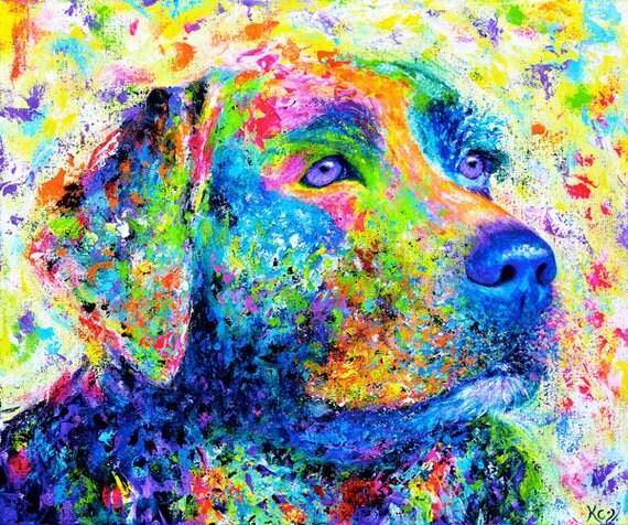Labrador Retriever Painting. Labrador Retriever Dog Art. Lab Dog Artwork. Colorful Dog Wall Art. Original Painting 20 x 24 inches.