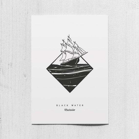 Poster Art Print - Black Water Blackwork Series A5 Size - Sails Moon N...