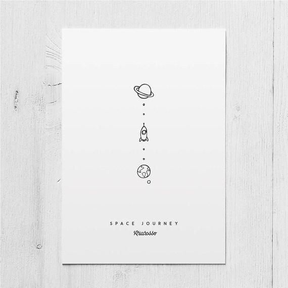 Poster Art Print - Space Journey - Blackwork Series A5 Size - Rocket E...