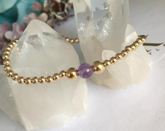 Purple Amethyst Gold Filled Bracelet, Stretch Bracelet, Stack Bracelet
