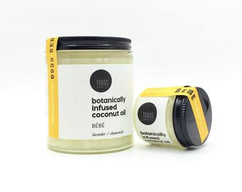 BEBE / botanically infused coconut oil, organic, lavender, chamomile, for moms, for baby, gentle skin care, multipurpose