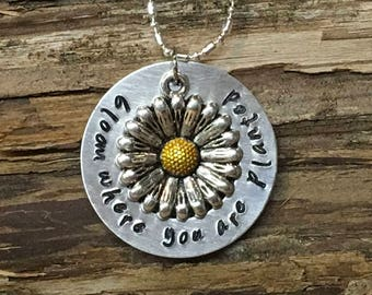 Bloom Where You Are Planted Hand Stamped Metal Washer Necklace