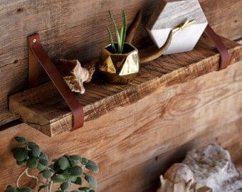 The Buffalo Shelf - Barn Wood Hanging Shelves - Leather Strap Reclaimed wood - Rustic wall Bookshelf - Floating Shelves