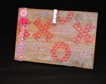 5x8 Rustic Wood Frame, Pink and Red Frame, Heart Frame, Customer Order, 11.00