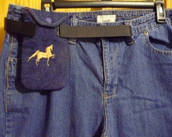 Trail riders hikers dog walkers cell phone holder belt loop adjustable strap embroidery horse horse shoes new handmade