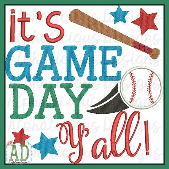 It s game day yall word art baseball themed embroidery