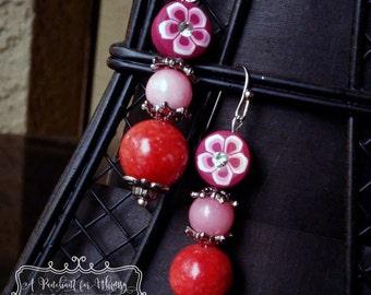 Red and Rose Quartzite Drop Earrings